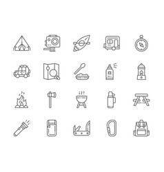 set camping line icons bbq canoe trailer vector image