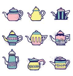 set hand drawn vintage tea pots vector image