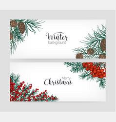 set horizontal holiday banners or backdrops vector image