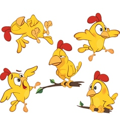 set of cute cartoon yellow chick vector image