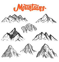 Set of hand drawn mountain design element for vector