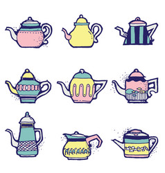 set of hand drawn vintage tea pots vector image