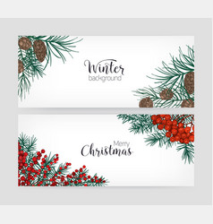 Set of horizontal holiday banners or backdrops vector