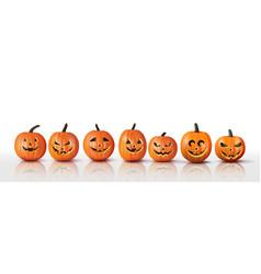 set realistic halloween orange pumpkins vector image