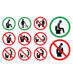 set toilet hygiene sign vector image