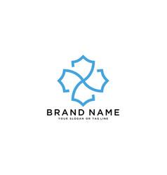 Shield and flower logo design vector