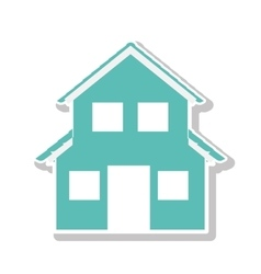 Silhouette with aquamarine house of two floors vector