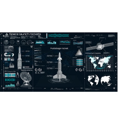 Space launch rockets instrument panel radars vector