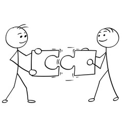 Stick man cartoon of two men holding a large vector
