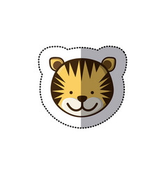 Sticker colorful picture face cute tiger animal vector