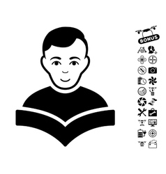 Student Icon With Copter Tools Bonus vector image