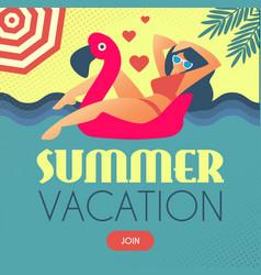 summer vacation girl on flamingo swimming circle vector image