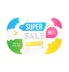 super sale 60 off discount banner template for vector image