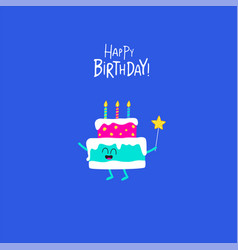 the cake for birthday greeting card vector image