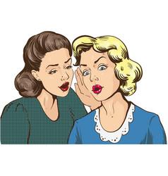 Two women whispering in pop art style vector