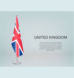 United kingdom hanging flag on stand template vector