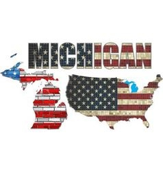 USA state of Michigan on a brick wall vector