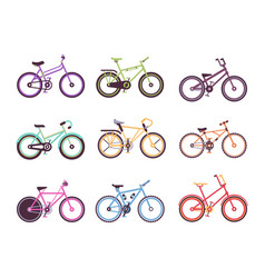 Various types of bikes set colorful bicycles for vector