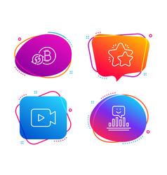 video camera refresh bitcoin and star icons set vector image