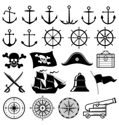 Vintage nautical marine navy pirate vector