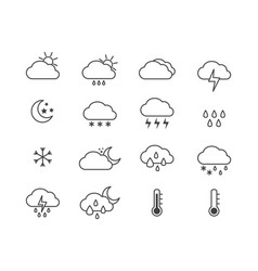 weather icon set for sunny rainy and snowy day vector image