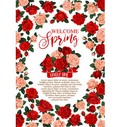 welcome spring floral banner with rose flower vector image