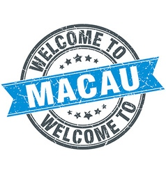Welcome to Macau blue round vintage stamp vector