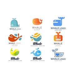 whale logos original design set creative emblems vector image