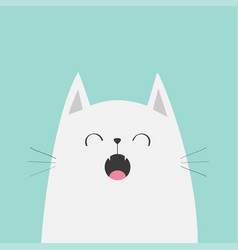 White cat face head silhouette meowing singing vector
