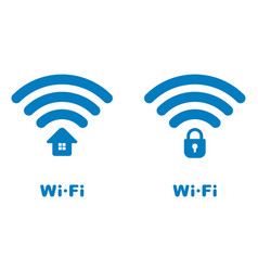 Wi-fi icons with the house and lock image vector