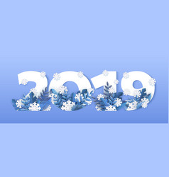 winter 2019 new year numbers snowflake ice vector image