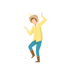 Young man in cowboy hat dancing at folklore party vector