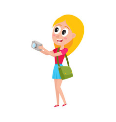 Young pretty woman tourist on vacation tour vector