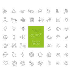 50 ecology energy and environment thin line icons vector image