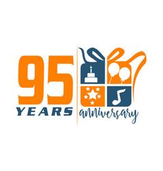 95 years gift box ribbon annivers vector