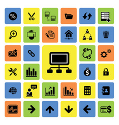 business and web icons set vector image