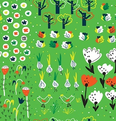 Funny garden seamless pattern in spring with vector image vector image