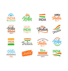 india independence day handmade lettering set vector image
