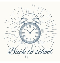 Alarm cloack with text Back to school vector image