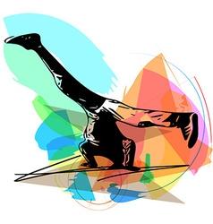 breakdancer performing a handstand vector image vector image