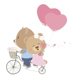 Love concept of couple teddy bear doll cycling vector image vector image