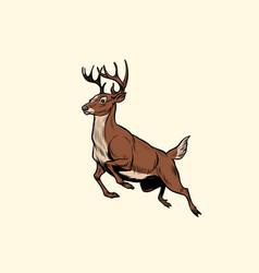 Running deer jump vector