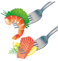 Seafood on fork vector image vector image