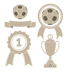 soccer icon ball ribbon award cu vector image vector image