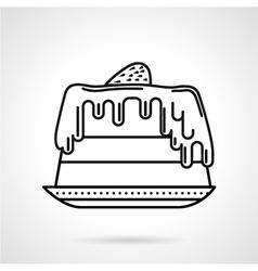 Strawberry cake black line icon vector image vector image