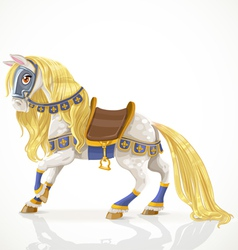 Beautiful white horse with a golden mane in harnes vector image vector image