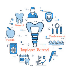 blue round concept - implant dental vector image vector image
