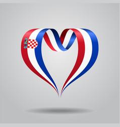 croatian flag heart-shaped ribbon vector image vector image