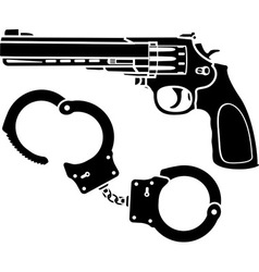 handcuffs and pistol vector image