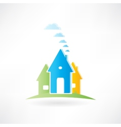 three houses are on a hill vector image